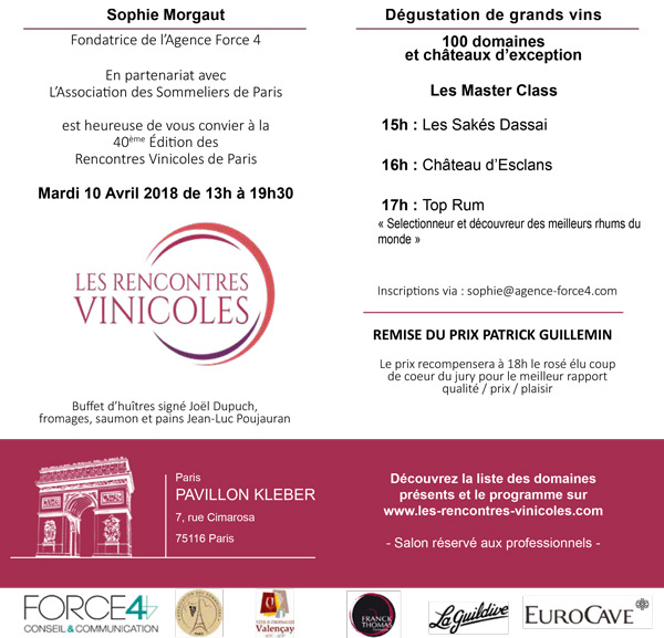 Tuesday, 9th of April : Rencontres Vinicoles in Paris