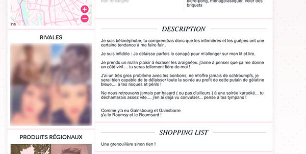 Un profil original sur un site de rencontre