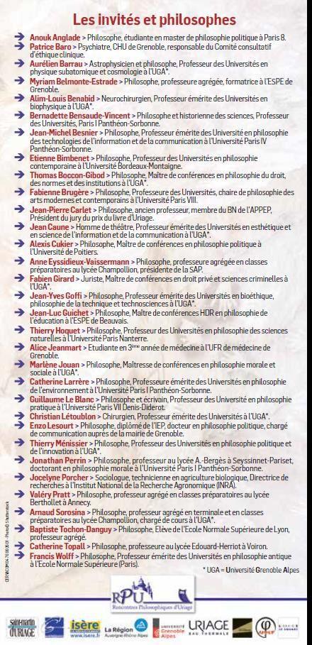 rencontres philosophiques duriage programme)