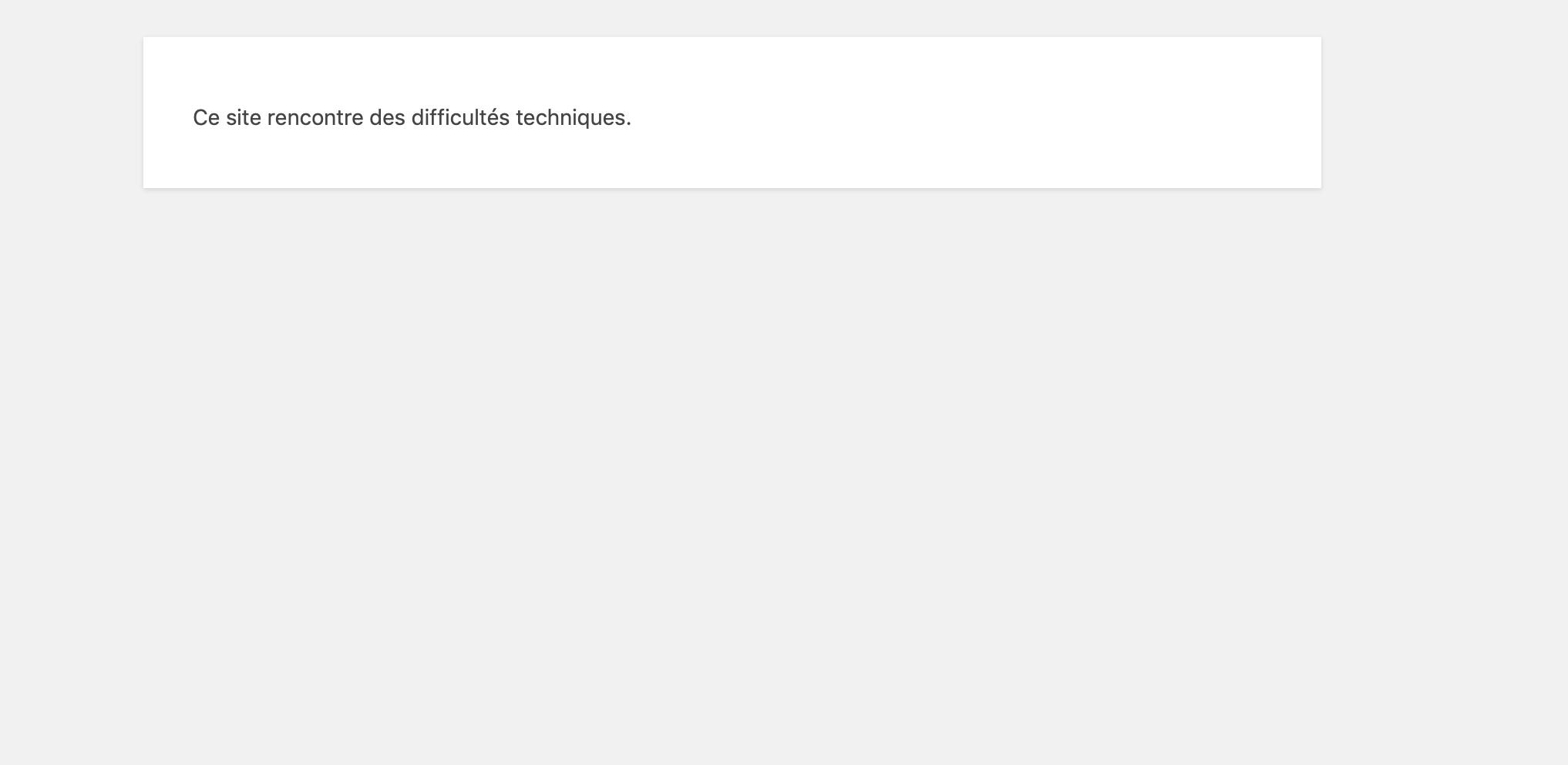 ce site rencontre des difficultés techniques. ovh